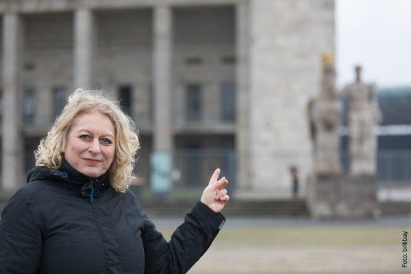 Nicole Ludwig, sportpolitische Sprecherin der Fraktion Buendnis 90/Die Gruenen im Abgeordnetenhaus, auf dem Olympiagelaende